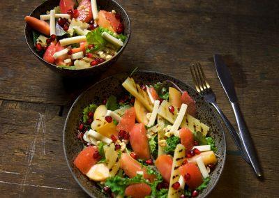Salade van Sous Vide appel en schorseneren