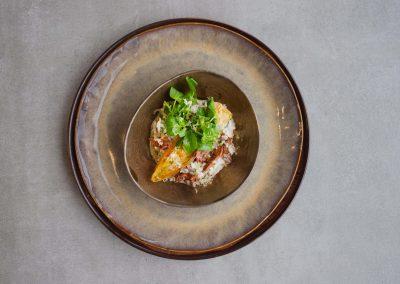 Sous-Vide gegaarde runderrib met risotto
