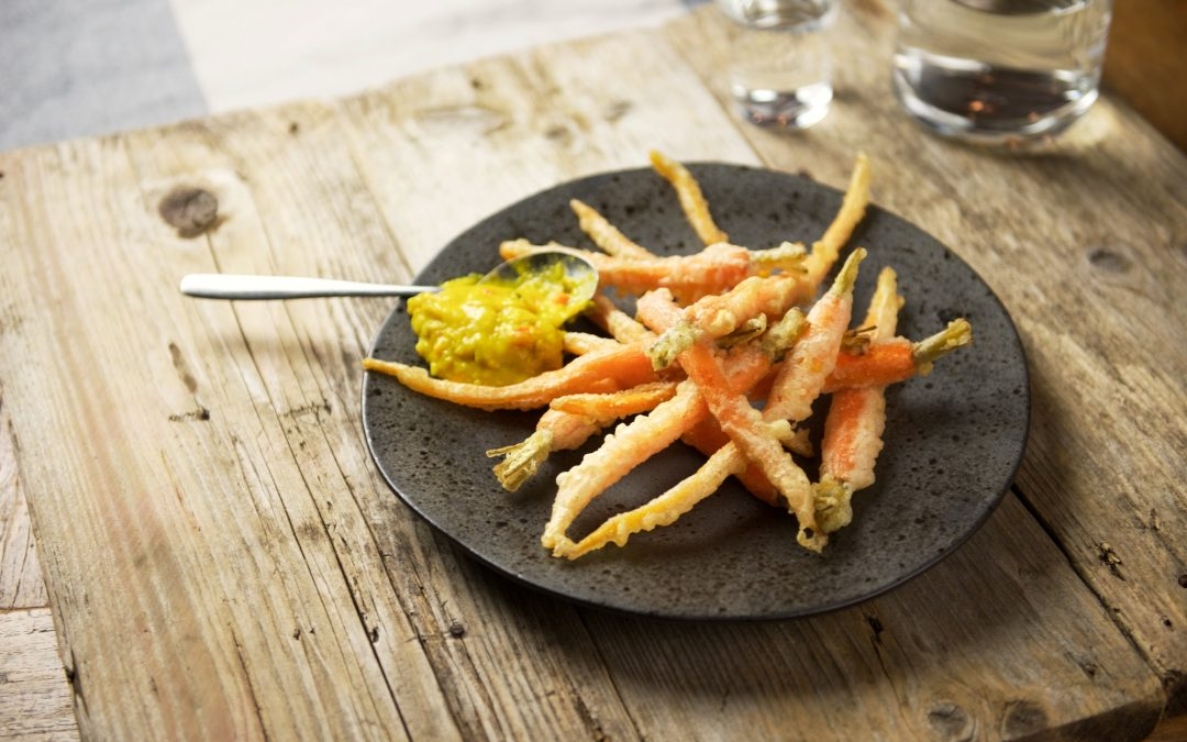 In tempura gefrituurde Sous-Vide bospeen