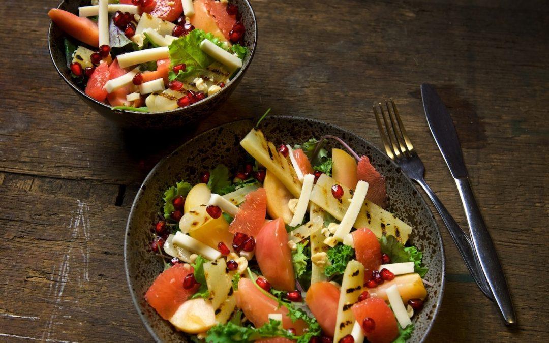 Salade van Sous-Vide appel en schorseneren